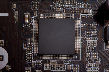 Wall Mural - Close up blank microchip on Electronic circuit board..