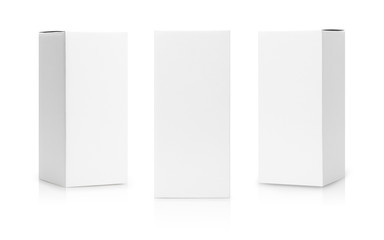 Set of White box tall shape product packaging in side view and front view isolated on white background with clipping path. Fotomurales