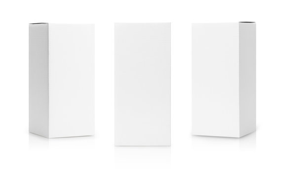 Set of White box tall shape product packaging in side view and front view isolated on white background with clipping path.