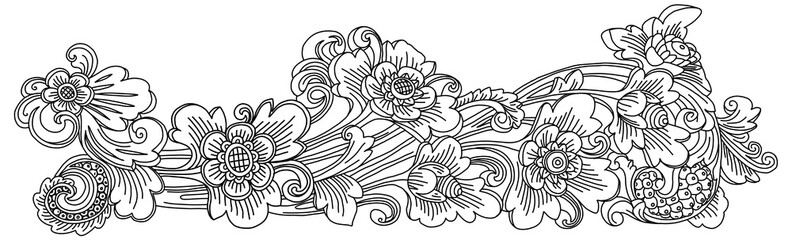 Traditional Balinese style decoration vector doodle floral ornament isolated on white background Fototapete