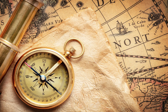 antique compass on ancient map made by H.Hondius at 1652