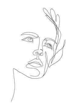 Vector line art portrait girl face with flower. Continuous line, drawing of faces wonen, fashion concept, woman beauty minimalist. Illustration for phone case, t-shirt, slogan design print