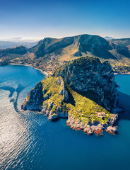 Photo sur Aluminium Palerme Top down view from flying drone. Amazing morning scene of Zafferano cape with old lighthouse. Incredible spring seascape of Mediterranean sea, Sicily, Italy, Europe. Traveling concept background.