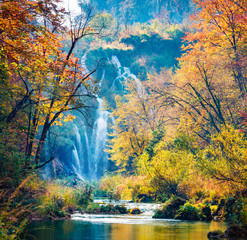 Amazing morning view of pure water waterfall in Plitvice National Park. Great autumn scene of...