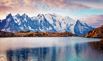 Gorgeous autumn view of Cheserys lake with Mount Blanc on background, Chamonix location. Majestic...