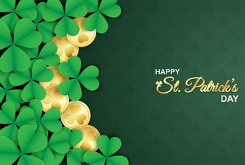 Happy St. Patrick's Day . Design with shamrock ,gold coin on green background. paper art style. Vector. Wall mural