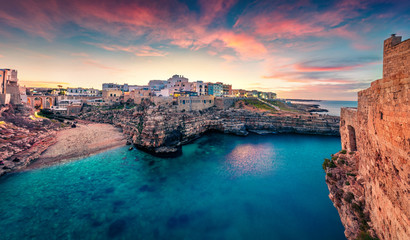 Poster Bleu nuit Unbelievable spring cityscape of Polignano a Mare town, Puglia region, Italy, Europe. Marvelous evening seascape of Adriatic sea. Traveling concept background.