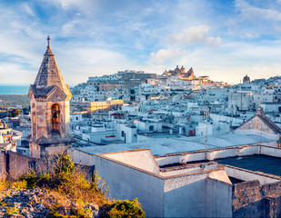 Bright morning cityscape of Ostuni town. Splendid outdoor scene of  Apulia region, Italy, Europe. Traveling concept background.