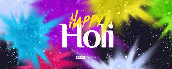 Colorful powder paint splash happy Holi celebration modern professional banner background illustration vector