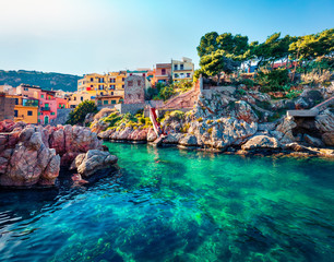 Poster de jardin Europe Méditérranéenne Sunny spring view of Sant' Elia village. Splendid azure water bay on Sicily, Palermo city location, Italy, Europe. Traveling concept background.
