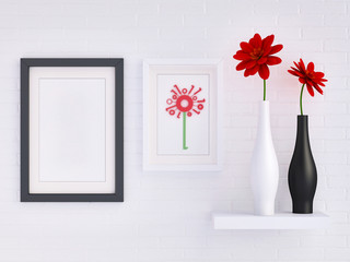 Red gerbera daisies in black and white vases; digital flower in a frame with mock up black picture frame against white brick wall 3d rendering