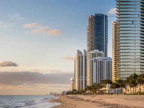 Panorama of Sunny Isles Beach city in Greater Miami area, Florida, USA.