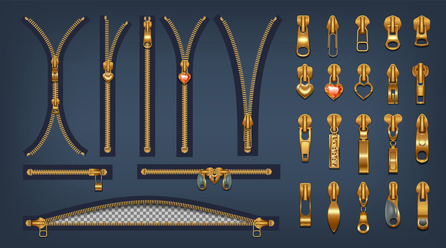 A set of metal zippers and sliders with pendants. Realistic style.Closed and open clasps for gold color design. Isolated on a dark background. Vector illustration
