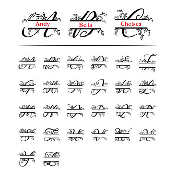 Set of initial decorative plant monogram split letter vector