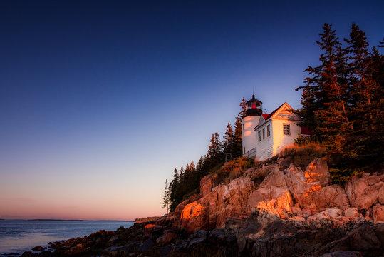 Bass harbor head lighthouse at sunrise