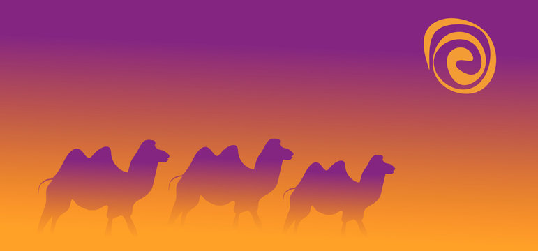 vector abstract illustration of three camels walking in the desert during a sandstorm under the sun