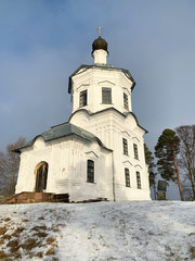 Monastery of Nilo-Stolobenskaya (Nilov) deserts in the Tver region. Church of the exaltation of the cross in winter