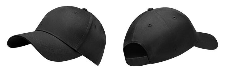 Obraz Black baseball cap in angles view front and back. Mockup baseball cap for your design - fototapety do salonu