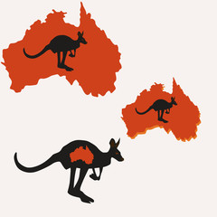 Set of three illustrations silhouettes of Australia and kangaroo red and black color vector