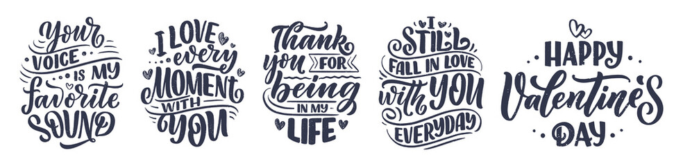 Set with slogans about love in beautiful style. Vector abstract lettering compositions. Trendy graphic design for prints and cards. Motivation posters. Calligraphy text for Valentine's Day. Fotomurales