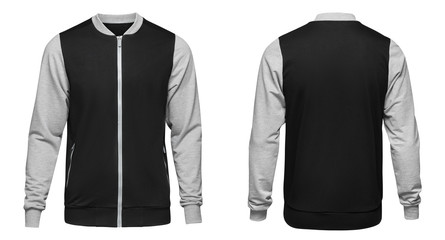 Grey bomber jacket template used for your design isolated on white background