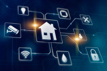 Smart home automated managment. Remote wireless house control. Smarthome technology icons.