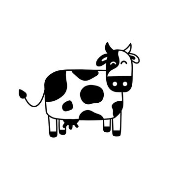 Illustration of doodle cow. Hand drawn cartoon doodle style. Simple brush strokes. Funny cow graphic design for card, poster, postcard, sticker, tee shirt. Hand drawn vector illustration.