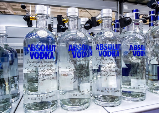 Absolut Vodka ready for sale on the shelf in superstore