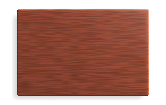 Realistic brown wooden board with shadow. Vector illustration.