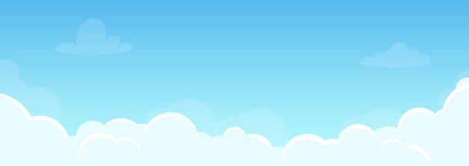 Canvas Prints Pool Background with sky and beautiful clouds. Illustration for flyer, banner in horizontal orientation. Good weather, clear sky. Vector, flat style.