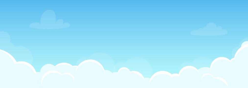 Background with sky and beautiful clouds. Illustration for flyer, banner in horizontal orientation. Good weather, clear sky. Vector, flat style.