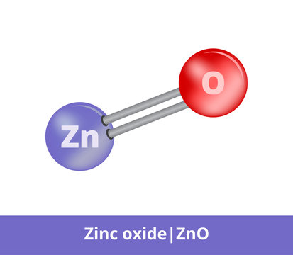 Vector ball-and-stick model of zinc oxide ZnO consisting of zinc and oxygen. Structural formula used as a pigment zinc white. Icon is isolated on a white background.