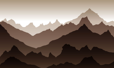 Foto op Plexiglas Cappuccino Sunrise behind the mountains. Vector illustration. Flat style. Beige palette. Might be used for posters, wallpaper, background.