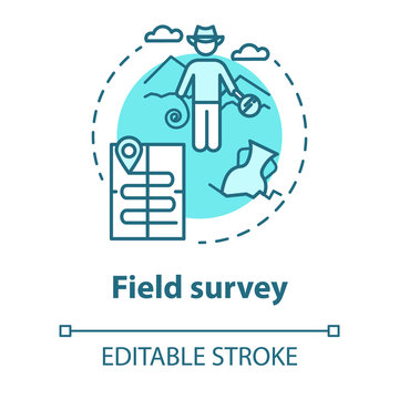 Field survey concept icon. Treasure hunting. Archeological expedition. Relic search. Start historical study. Vector isolated outline RGB color drawing. Editable stroke