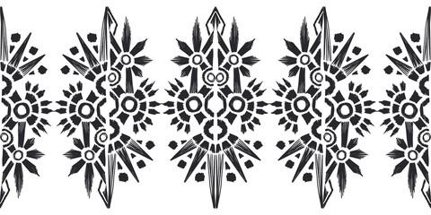 Ikat pattern etnic indian ornamental black and white illustration. Navajo motif texture ornate  design for surface print. Black and white background.