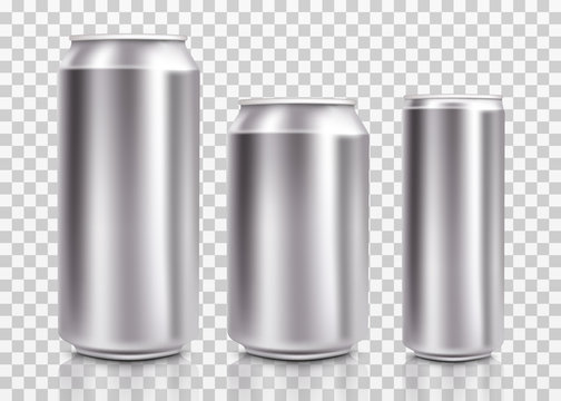 Realistic metal cans. Aluminum bear soda and lemonade cans with water drops, energy drink blank mockup. Isolated set canned beverages with water condensation on transparent background. Vector