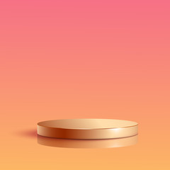 Gradient round podium. Pedestal in pastel colored room with spot lights scene. Vector illustration