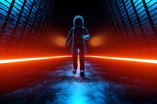 A Astronaut discovering a strange Alien building