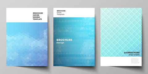 The vector layout of A4 format modern cover mockups design templates for brochure, magazine, flyer, booklet, annual report. Abstract geometric pattern with colorful gradient business background.