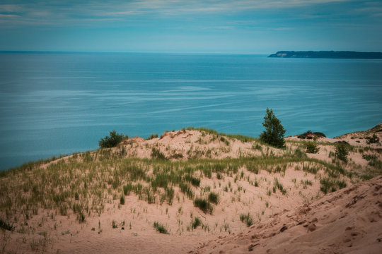 Landscape shot of South Manitou island on Lake Michigan from the Sleeping Bear Dunes