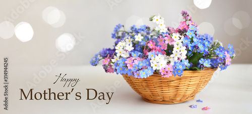 Happy Mothers Day card. Spring flowers in woven basket
