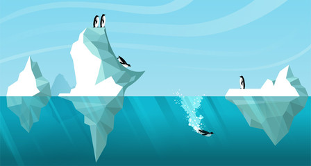 Photo sur Aluminium Piscine Arctic daytime landscape showing white icebergs floating in the ocean. Penguins roll off an iceberg like a slide and dive into the water. One penguin is swimming underwater. Vector. Wildlife scene