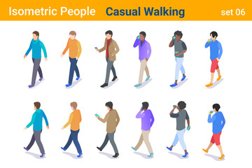 Isometric Casual People flat vector collection. Man walking, talking or looking on Mobile phone, back and front poses