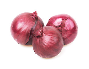 Fresh red onion on white background