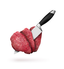 Pieces of raw beef steaks with knife