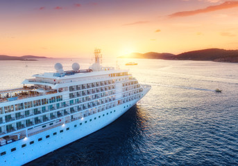 Aerial view at the cruise ship during sunset. Adventure and travel.  Landscape with cruise liner on Adriatic sea. Luxury cruise. Travel - image Fotomurales