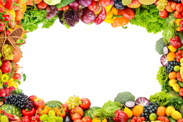 Wall Mural - Collage fresh and healthy vegetables and fruits in form frame isolated on white