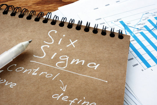 Six sigma sign as Lean Manufacturing concept. Notebook and papers.