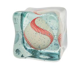 Baseball ball frozen in ice cube, 3D rendering