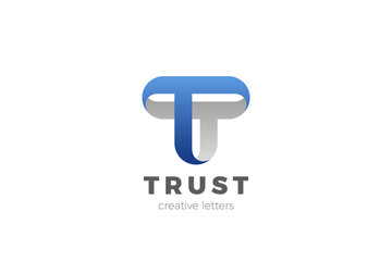 Letter T Logo design vector template Ribbon Font style Typography.
